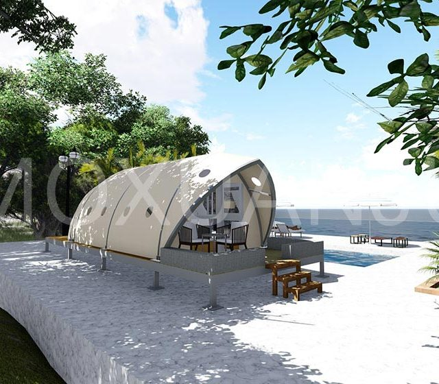 Shell Shape Glamping Tent field