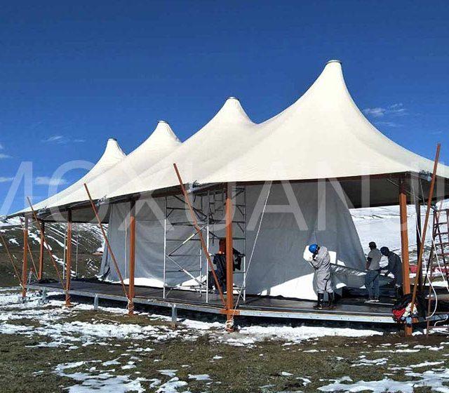 Double Peak Safari Tent install