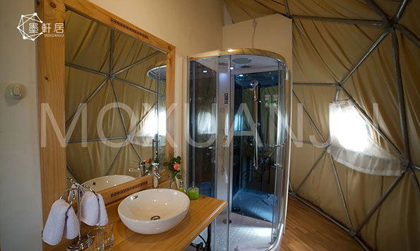 how to get a bathroom in a glamping tent