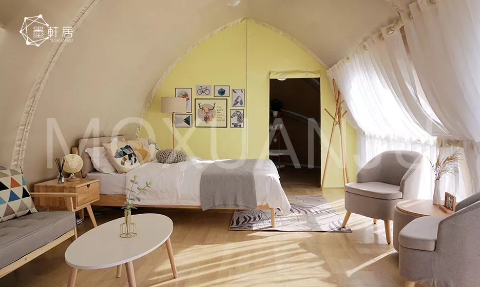 Shell shaped glamping tent interior