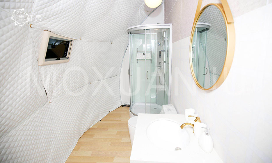 Two Story Glamping Dome Indoor bathroom