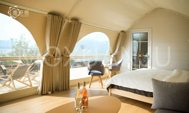 Luxury Glamping shell Tent bedroom