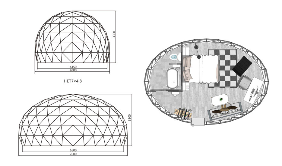 Oval Dome Glamping Tent Floor Plan