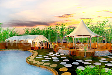 Glamping tent for hot spring resorts