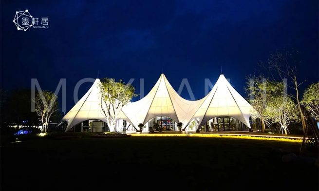 Star Tents Outdoor Overview In The Evening